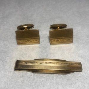 Simmons Gold Overlay Cufflinks Tie Bar Set